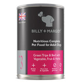 12 x Billy & Margot Complete Adult Green Tripe And Beef With Vegetables Fruit & Herbs 395g