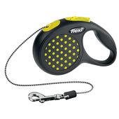 Flexi Design Retractable Cord Lead Yellow Dot