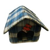 AniMate Blue Tweed Zip-Up Dog House - 18