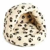 P&L Hooded Igloo Cat Bed Sherpa Fleece Paw Print Beige 38x36x33cm