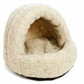 P&L Hooded Igloo Cat Bed Sherpa Fleece Oatmeal 38x36x33cm