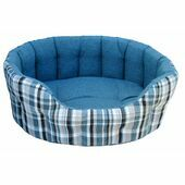 Premium Heavy Duty Antibacterial Oval Drop Front Softee Plaid Dog Bed - Aqua Blue