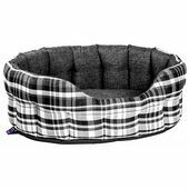 Premium Heavy Duty Antibacterial Oval Drop Front Softee Plaid Dog Bed - Black & White