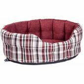 Premium Heavy Duty Antibacterial Oval Drop Front Softee Plaid Dog Bed - Wine