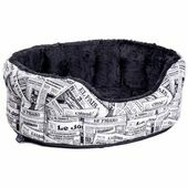 Heavy Duty Fur Lined Oval Drop Front Softee News Paper Design Dog Bed - Black/White