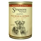 6 x Simpsons Premium Organic Adult Wild Boar And Ostrich With Organic Vegetables 400g