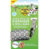 Bags On Board Diamond Waste Pick-Up Dispenser & Refill - 14 Bags