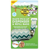 Bags On Board Green Waste Pick-Up Dispenser & Refill Bags - 14 Pack