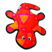 Outward Hound Invincibles Gecko 4 Squeak Dog Toy - Red & Orange