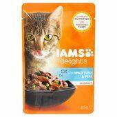 24 x Iams Delights Cat Pouch Tuna Peas In Gravy 85g