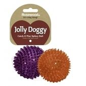 3 x Rosewood Jolly Doggy Catch & Play Spikey Ball 8cm