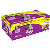 Whiskas 7+ Cat Pouches Poultry Selection In Jelly 40 X100g Mega Pack