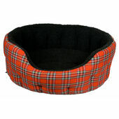 Premium Oval Drop Front Fleece Lined Softee Dog Bed Royal Stewart Red Tartan/Black Lining