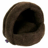 P&L Hooded Igloo Cat Bed Sherpa Fleece Dark Brown 38x36x33cm