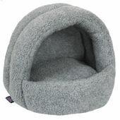 P&L Hooded Igloo Cat Bed Sherpa Fleece Silver Grey 38x36x33cm