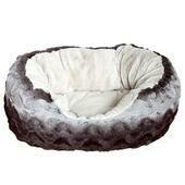 Rosewood 40 Winks Snuggle Oval Plush Grey & Cream Dog Bed