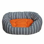Rosewood 40 Winks Oval Bed Grey Stripe/tangerine
