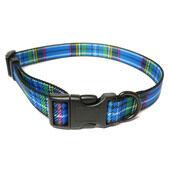 Ancol Nylon Adjustable Collar Tartan Blue 20 - 30cm Sz 1-2