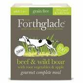 7 x 395g Forthglade Gourmet Grain Free Beef & Wild Boar W/root Vegetables & Apple