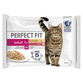 52 x Perfect Fit Cat Pouches Adult 1+ Mixed Meaty 85g Pack