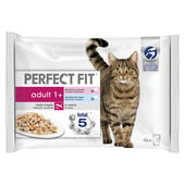 52 x Perfect Fit Cat Pouches Adult 1+ Mixed Fishy 85g Pack