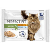 52 x Perfect Fit Cat Pouches Senior 7+ Mixed 85g Pack