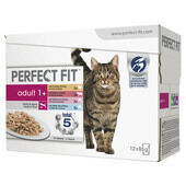 48 x Perfect Fit Cat Pouches Adult 1+ Mixed 85g Pack