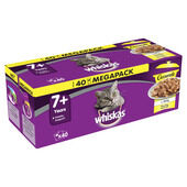 40 x Whiskas 7+ Pouch Cat Food - Casserole Poultry Selection In Jelly 85g