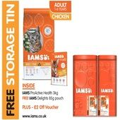 Iams Adult Cat ProActive in Chicken 3kg - Plus Free Tin and Free 85g Delights Pouch