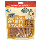 3 x Good Boy Pawsley & Co Chewy Chicken Dog Treats Variety Pack 320g
