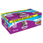 40 x Whiskas 1+ Cat Pouches Fish Selection In Jelly 100g