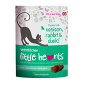 8 x Vet's Kitchen Little Hearts Cat Treats - Venison Rabbit and Duck 60g
