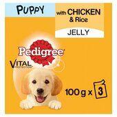42 x Pedigree Puppy Food Pouches With Chicken And Rice In Jelly 100g