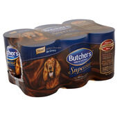 4 x Butcher's Can Superior Variety Real Meat with Gravy 6x400g