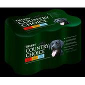 6 x 1200g Gelert Country Choice Beef Chicken & Lamb Wet Dog Food Variety Pack