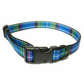 Ancol Heritage Adjustable Dog Collar Tartan Blue 45-70cm Size 5-9