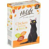 4 x Hilife It's Only Natural Cat Pouch Mature Chicken Terrine 8x70g