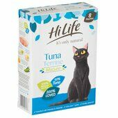 4 x Hilife It\'s Only Natural Cat Pouch Mature Tuna Terrine 8x70g