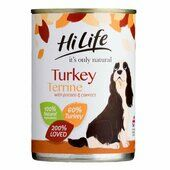 6 x Hilife It\'s Only Natural Dog Can Turkey Terrine With Potato & Carrots 395g