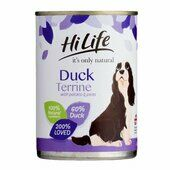 6 x Hilife It\'s Only Natural Dog Can Duck Terrine With Potato & Peas 395g