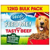 Hilife Feed Me! Dog With Tasty Beef Flavoured With Cheese & Veg 12kg