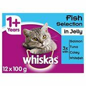 4 x Whiskas 2-12mths Kitten Pouches Pure Delight Fish Selection In Jelly 12x85g Pack