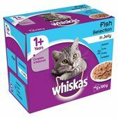 Whiskas 1+ Cat Pouches Pure Delight Fish Selection In Jelly 40 x 85g Pack