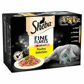 48 x 85g Sheba Fine Flakes Cat Pouches Poultry Selection In Gravy