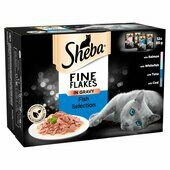 48 x 85g Sheba Fine Flakes Cat Pouches Fish Selection In Gravy