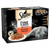 48 x 85g Sheba Fine Flakes Cat Pouches Succulent Selection In Gravy