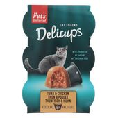 48 x 22g  Pets Unlimited Tuna & Chicken Delicups Cat Food