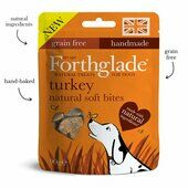8 x 90g Forthglade Dog Hand Baked Grain Free Soft Bite Treats Turkey With Botanicals