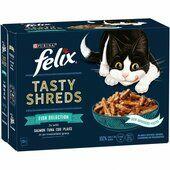 48 x 80g Felix Tasty Shreds Fish Selection In Gravy Cat Food