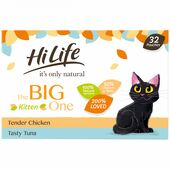 32 x Hilife It's Only Natural Cat Pouch The Big Kitten One 70g
